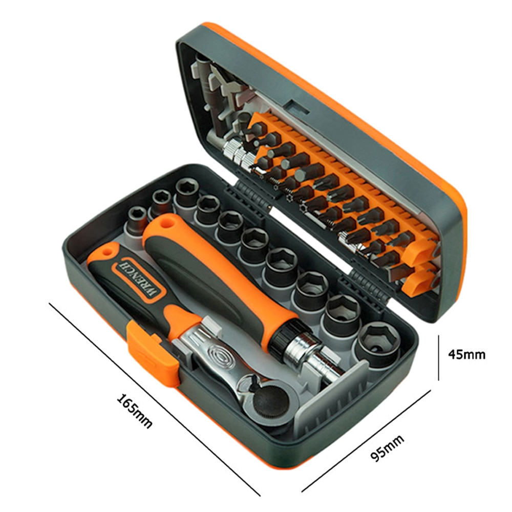 Multifunction Hand Tool Kit,Home Screwdriver Set,Car Repair Tool Set,Auto Maintenance Tire Removal Sleeve Wrench Set Tool.