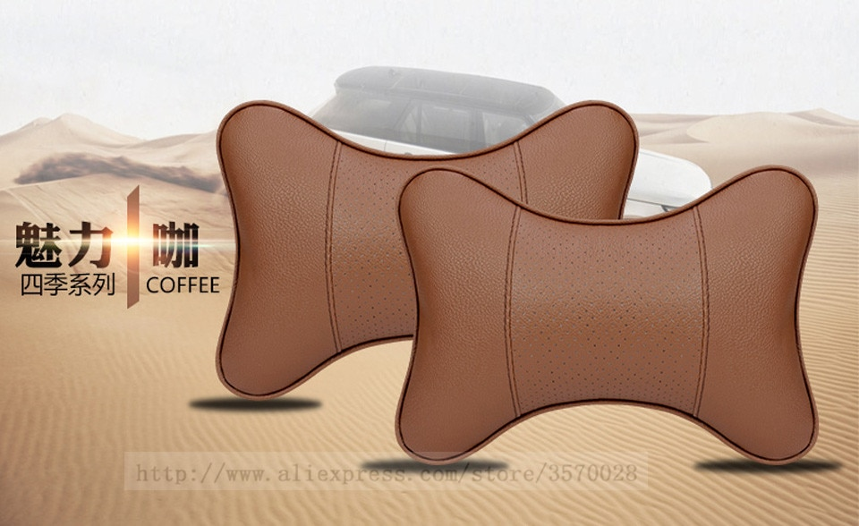 Car Neck Pillows Both Side Pu Leather 1pcs Pack Headrest For Head Pain Relief Filled Fiber Universal Car Pillow