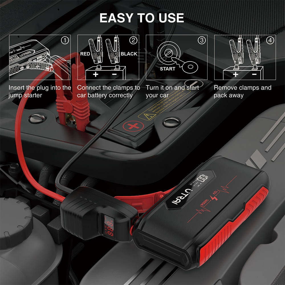 UTRAI Connector Emergency Battery Jump Cable Alligator Clamps Clip For Car Truck Jump Starter Measure Voltage of the Car Battery