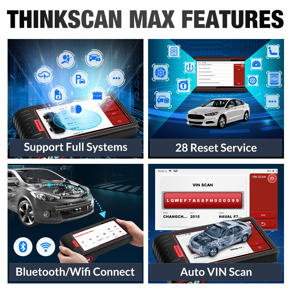 Thinkcar Thinkscan Max OBD2 Scanner Automotivo Car Diagnostic Tool Ecu Code Reader with Free 28 Reset Function PK CRP909/MK808