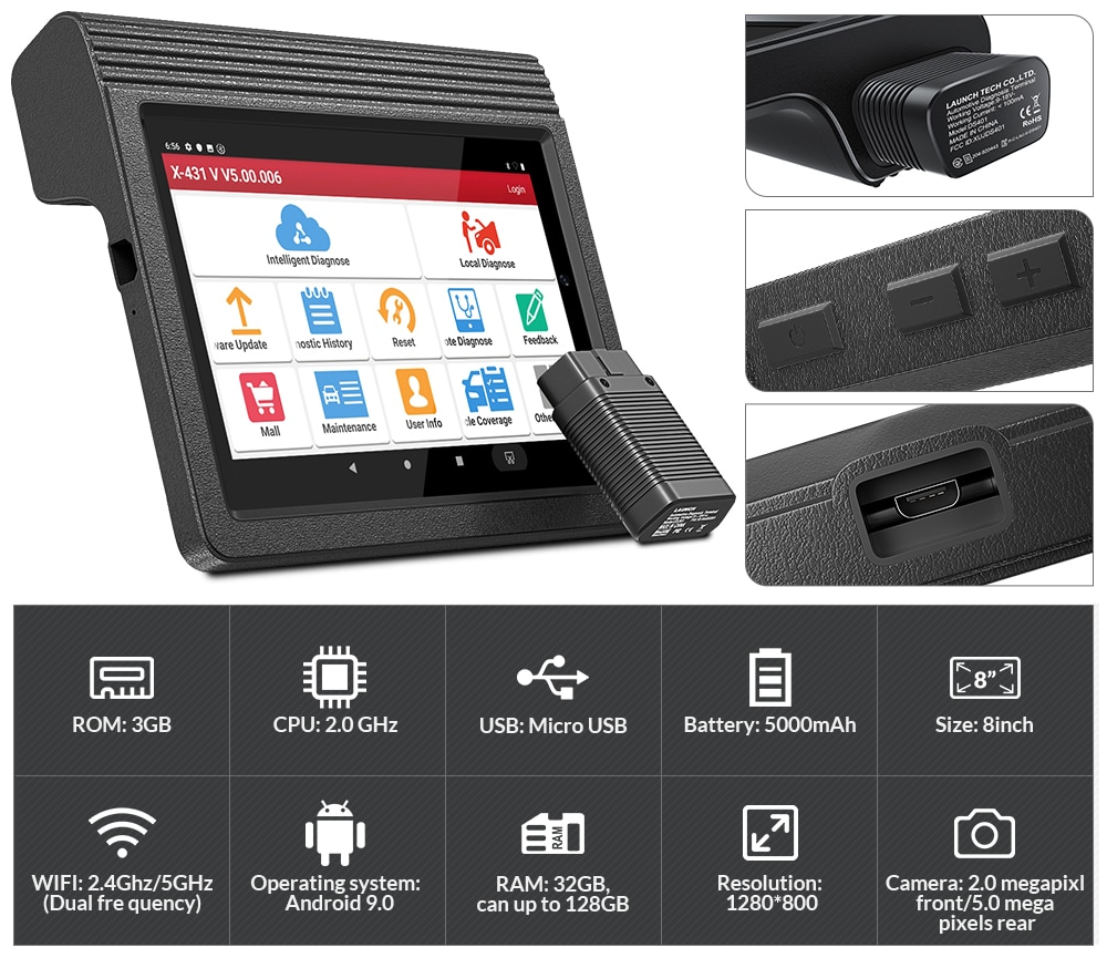 LAUNCH X431 V Pros Auto Professional Diagnostic Tools Car OBD OBD2 Code Reader Scanner Full System Scan Tool Coding Active Test