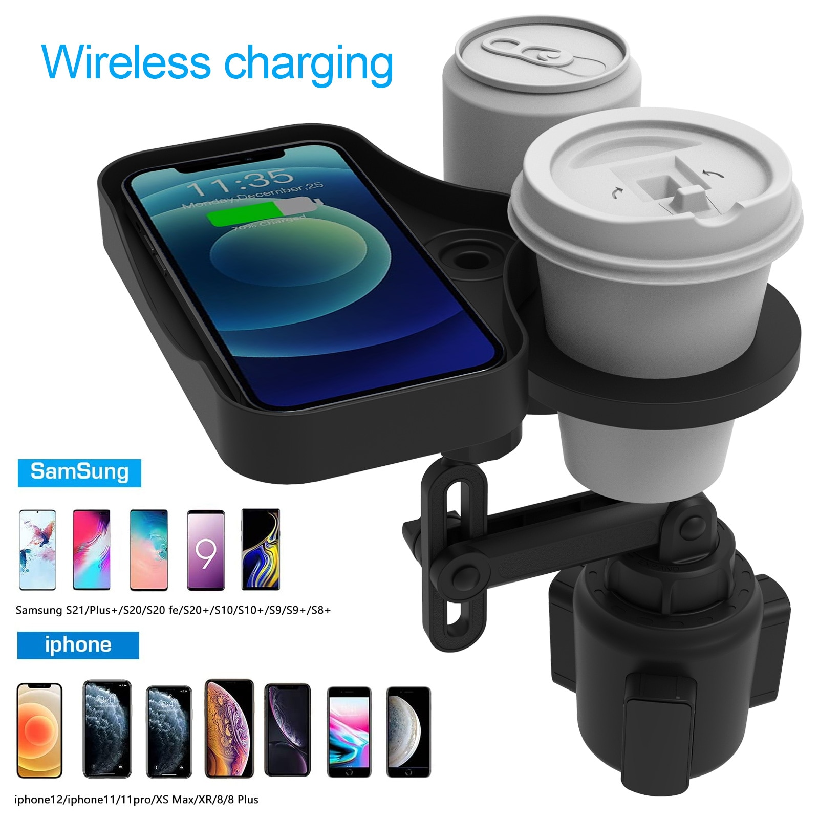 Car Water Cup Holder Multifunctional Rotatable With Wireless USB Charging Tray Car Mobile Phone Beverage Bottle Holder Extender