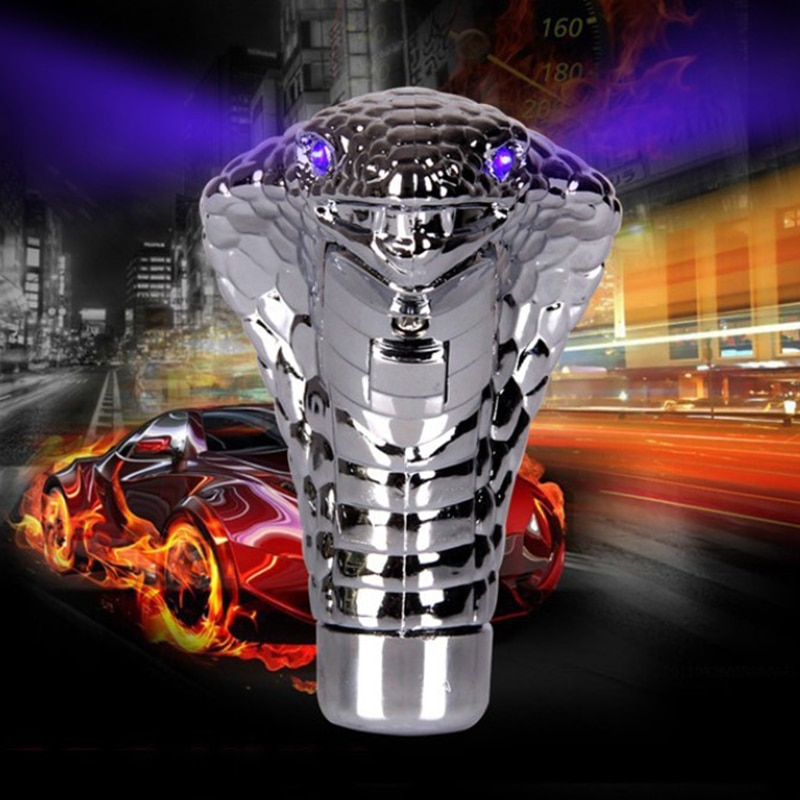 Do Promotion ! Cobras Snake Shape Car Gearbox Handle With LED Light Gear Levers Knob Car Modification Gear Stick Droppshing