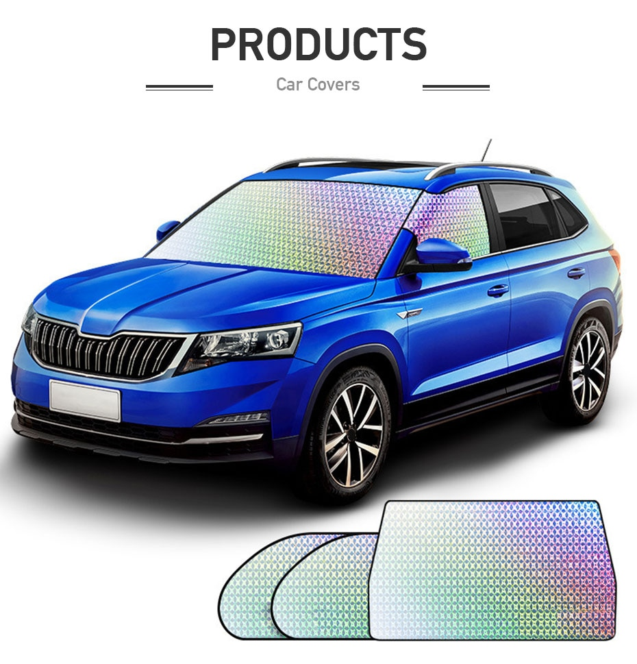 Car Sunshade Protector Exterior Windshield Cover Front&Side Window Sun Shade UV-Anti 4-layer Reflector Film Heat Insolation Foil