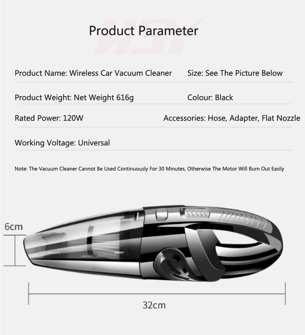 Portable Car Vacuum Cleaner Wireless echargeable Household Handheld AutRomatic Vacuum Cleaner 4000PA High Suction Power USB